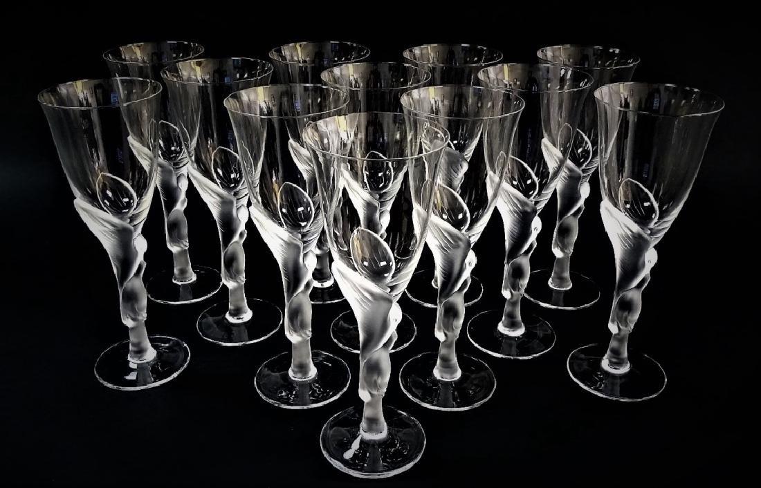 12 FABERGE KISSING DOVES WINE FLUTE GLASSES - 2