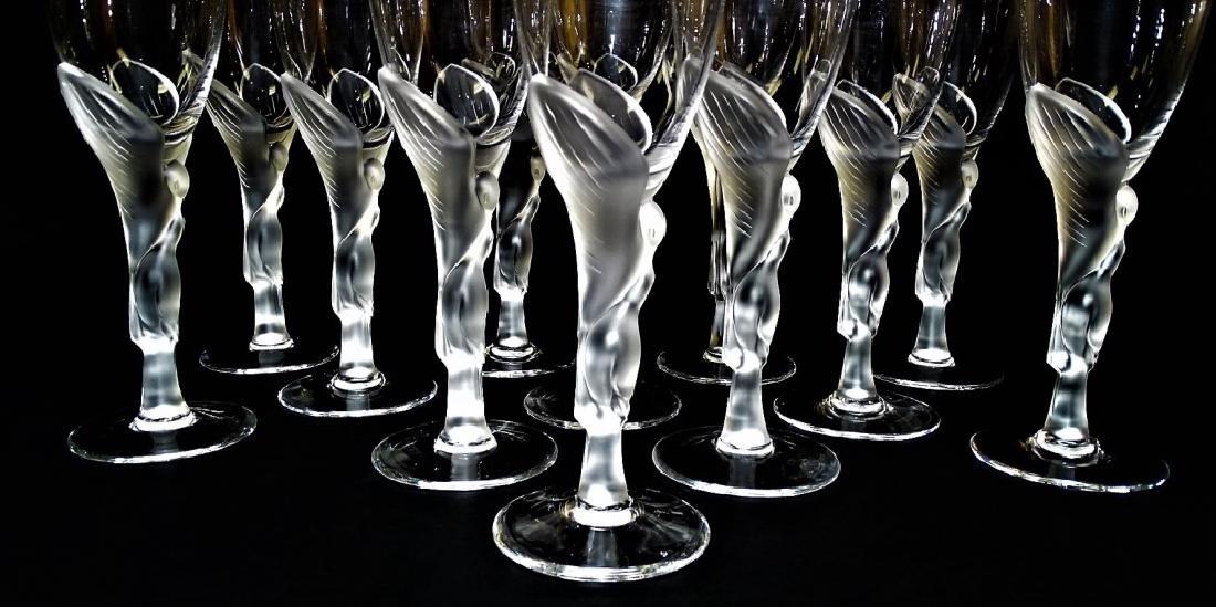 12 FABERGE KISSING DOVES WINE FLUTE GLASSES - 3