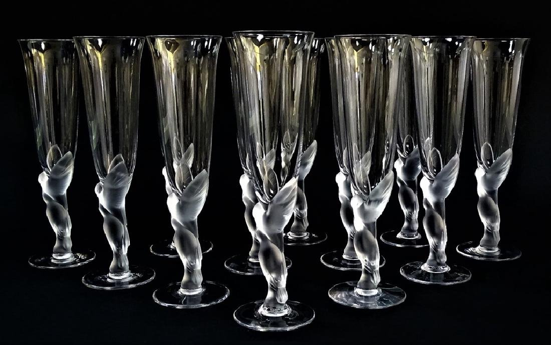 12 FABERGE KISSING DOVES CHAMPAGNE FLUTE GLASSES