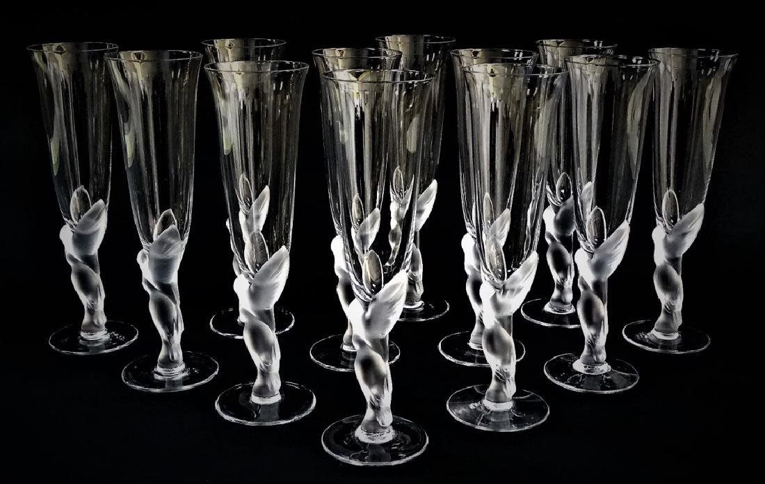 12 FABERGE KISSING DOVES CHAMPAGNE FLUTE GLASSES - 2