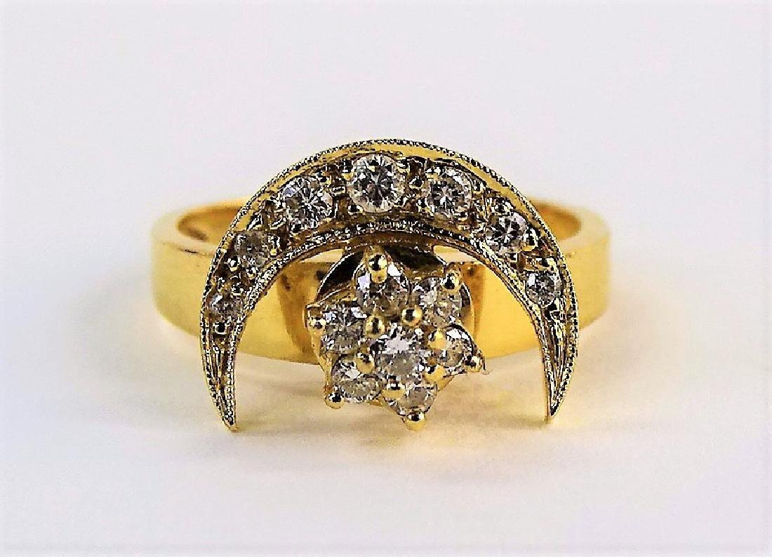 LADIES 14KT YG & DIAMOND CRESCENT MOON RING - 2