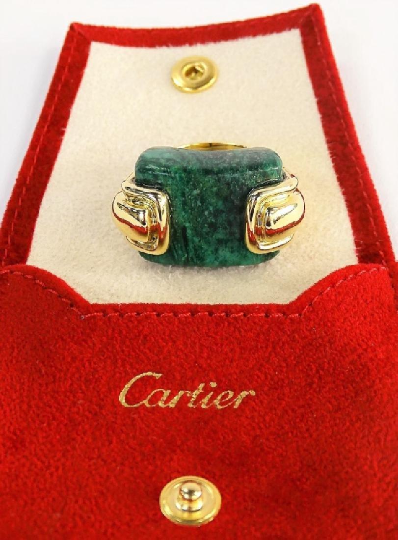 A. CIPULLO CARTIER 18K YELLOW GOLD & MALACHITE RING