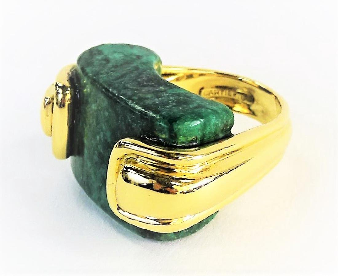 A. CIPULLO CARTIER 18K YELLOW GOLD & MALACHITE RING - 2