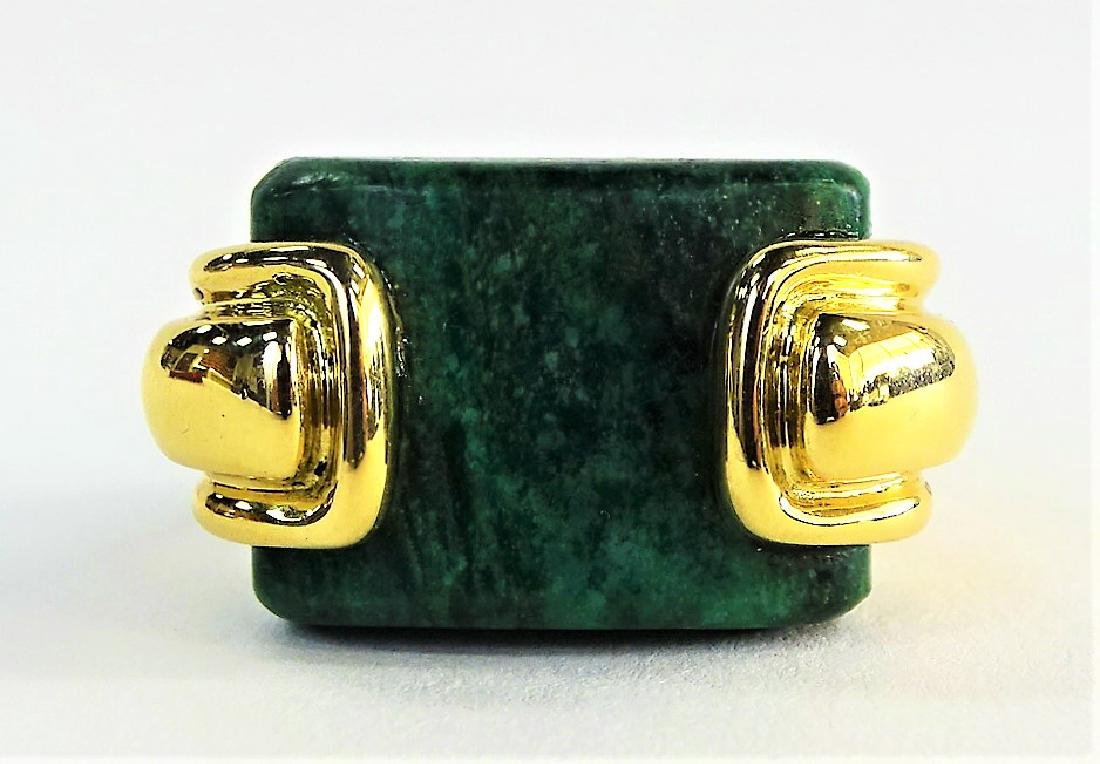 A. CIPULLO CARTIER 18K YELLOW GOLD & MALACHITE RING - 3