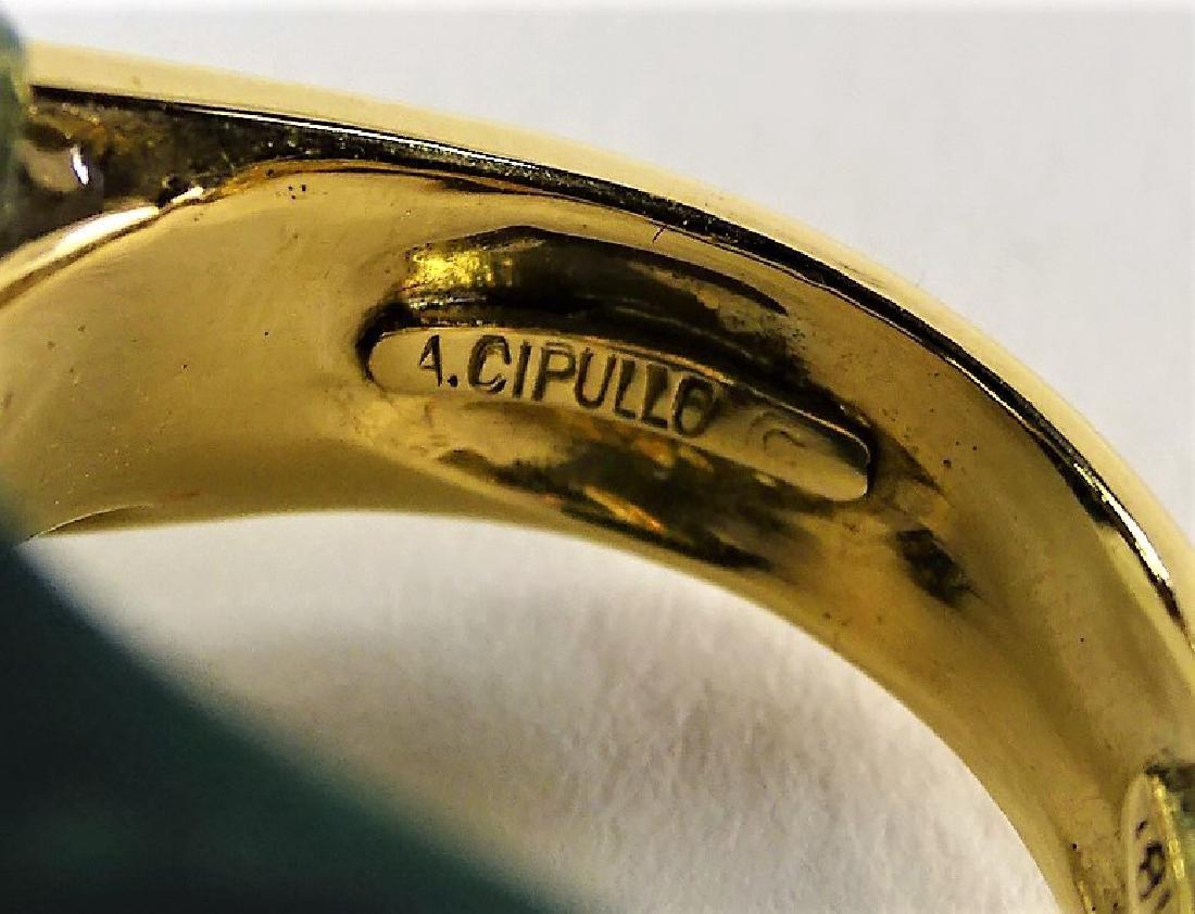 A. CIPULLO CARTIER 18K YELLOW GOLD & MALACHITE RING - 8