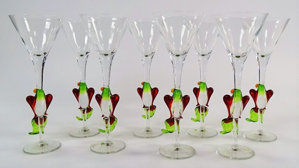 8 MURANO STYLE BLOWN GLASS PARROT MARTINIS