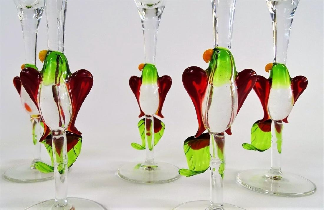 8 MURANO STYLE BLOWN GLASS PARROT MARTINIS - 3