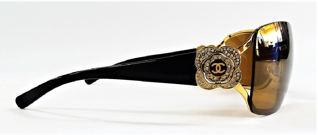 CHANEL CAMELLIA FLOWER CRYSTAL SUNGLASSES w/ CASE - 3