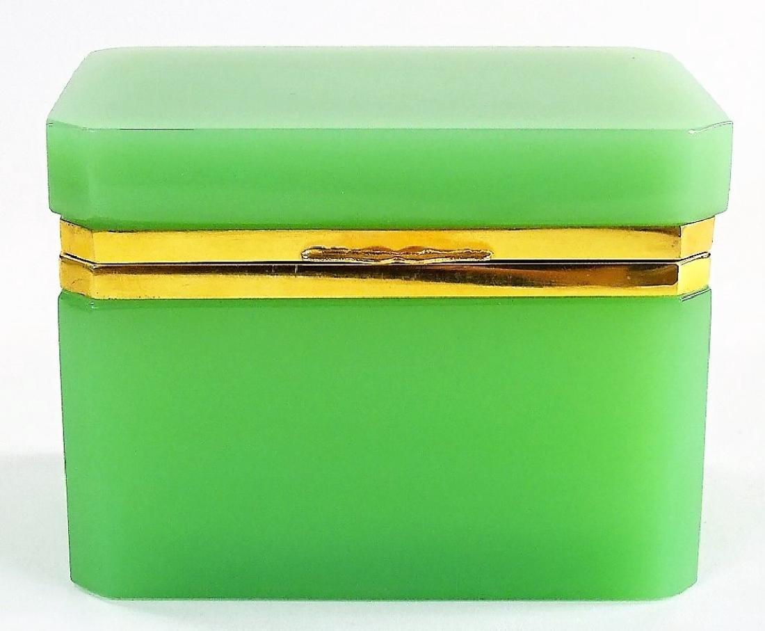 ANTIQUE FRENCH OPALINE GREEN DRESSER BOX