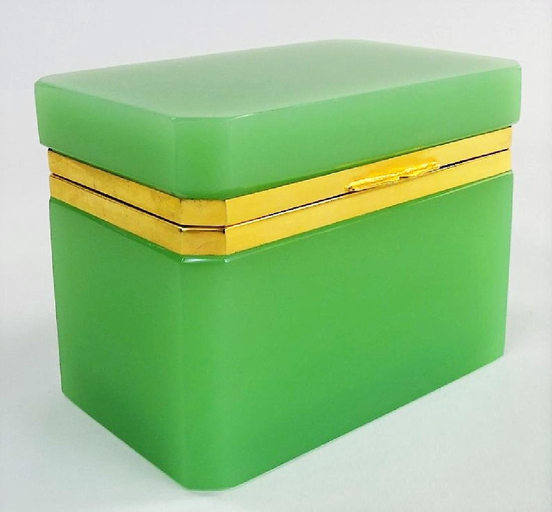 ANTIQUE FRENCH OPALINE GREEN DRESSER BOX - 2