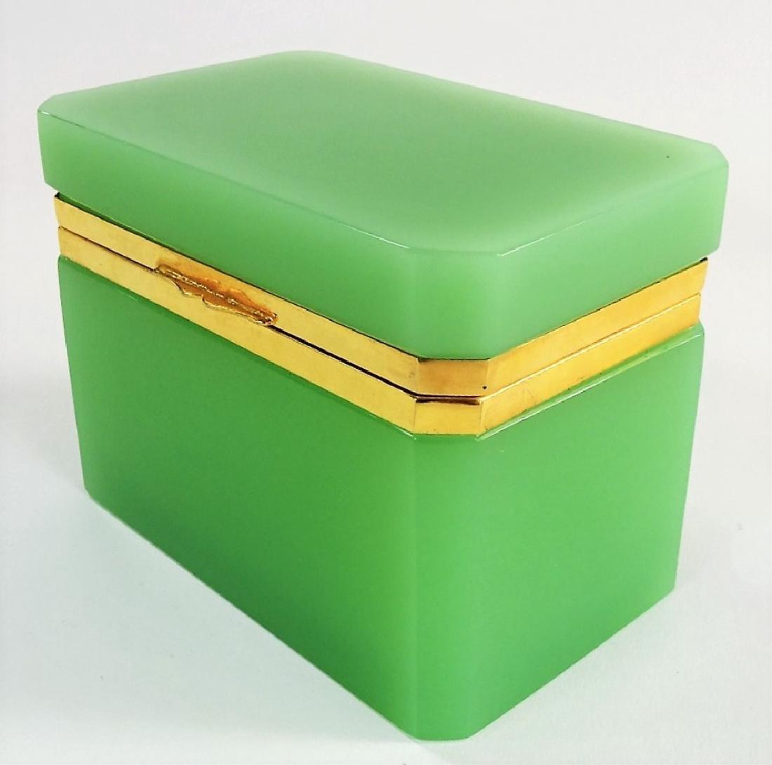 ANTIQUE FRENCH OPALINE GREEN DRESSER BOX - 3