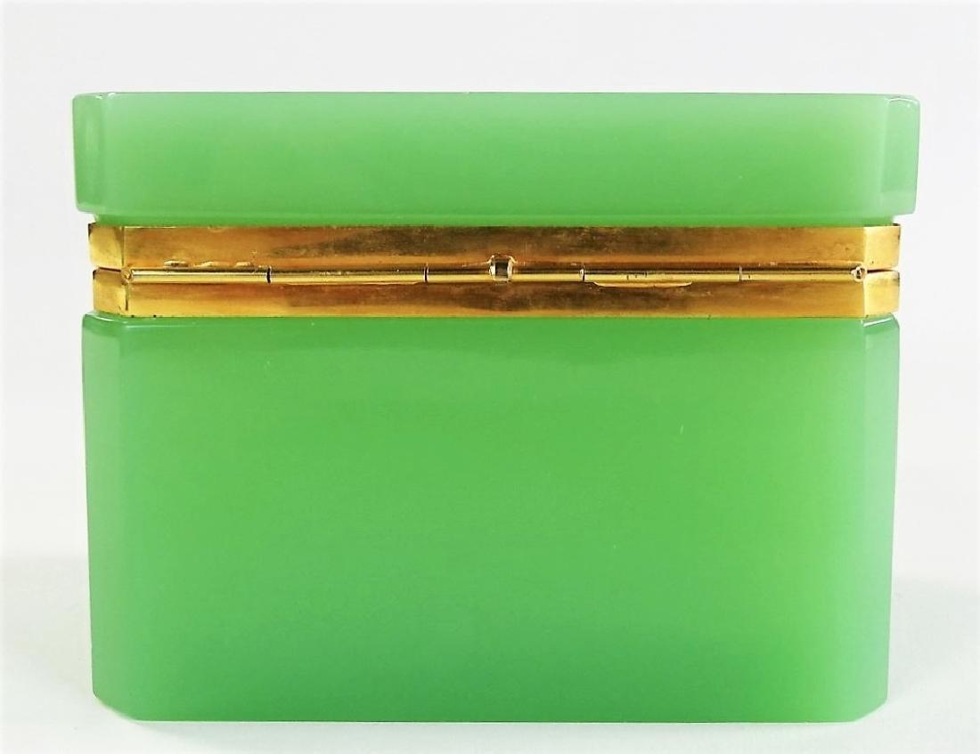 ANTIQUE FRENCH OPALINE GREEN DRESSER BOX - 4
