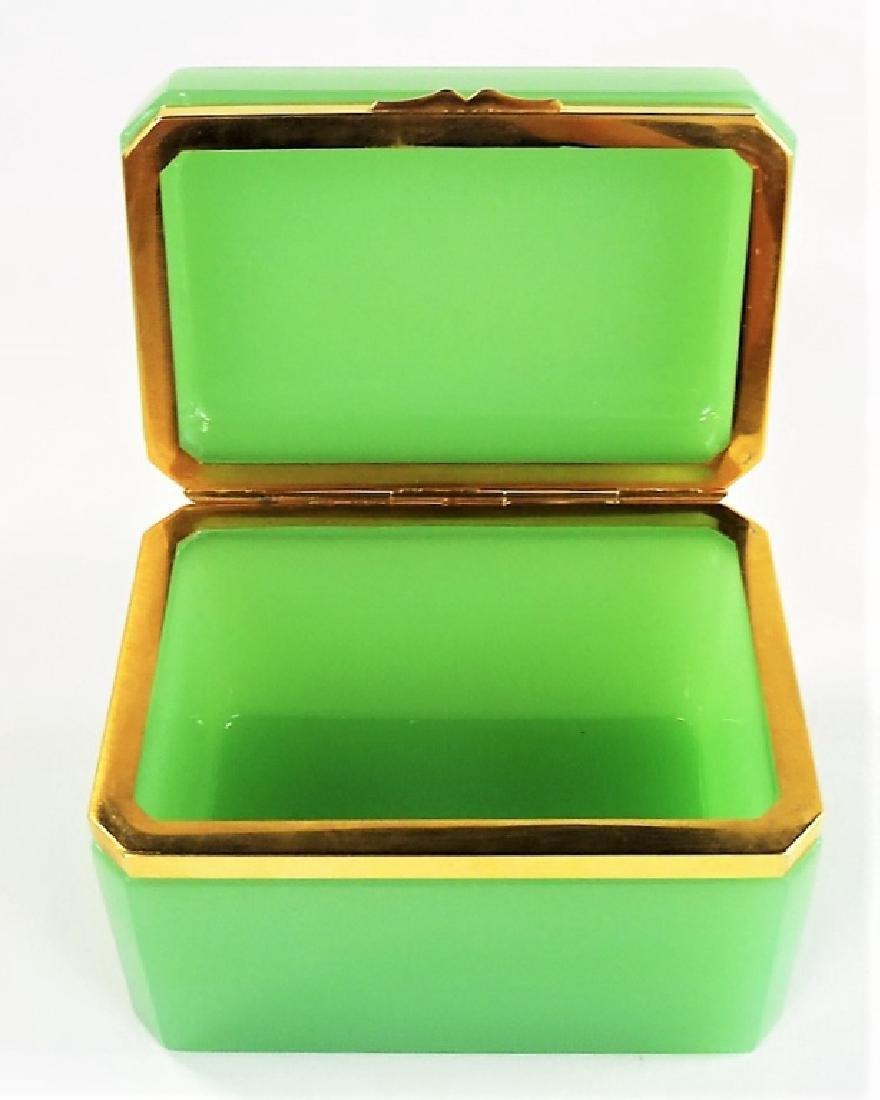 ANTIQUE FRENCH OPALINE GREEN DRESSER BOX - 6