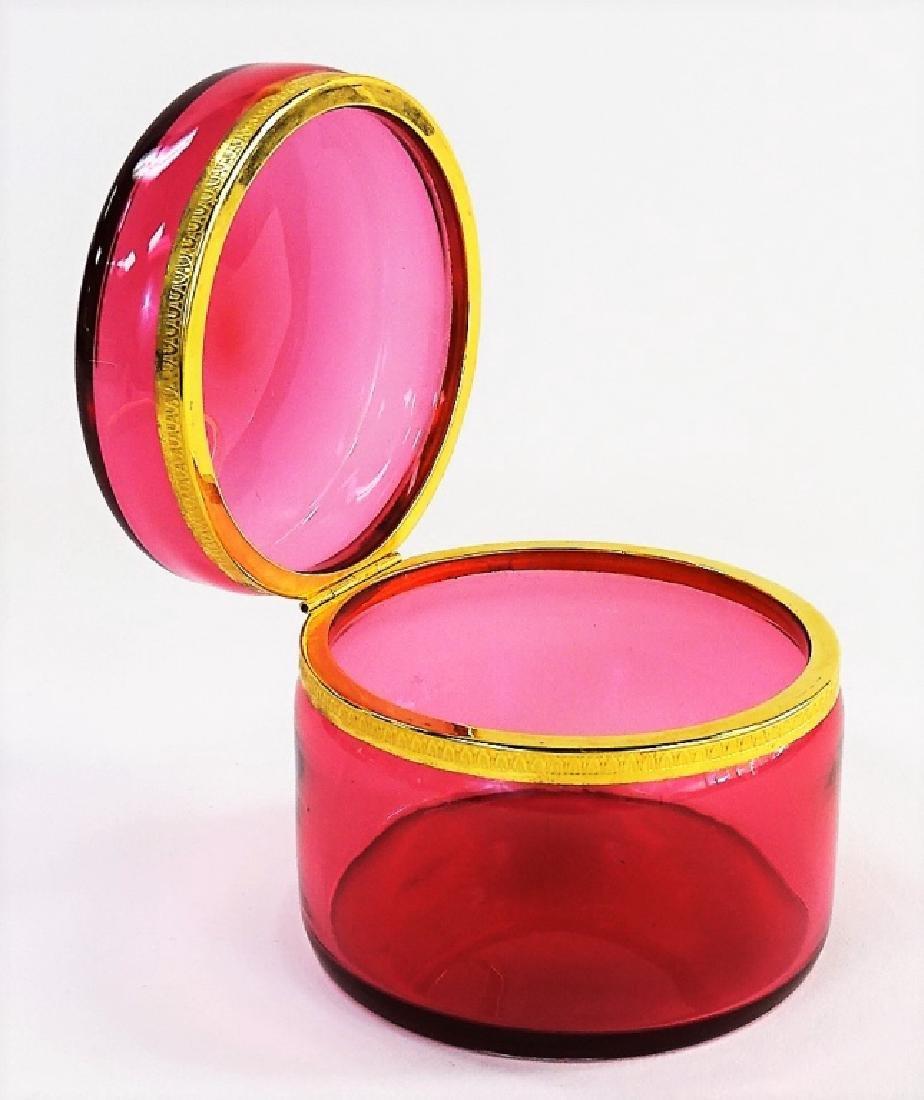 ANTIQUE FRENCH RUBY ROUND LADIES DRESSER BOX
