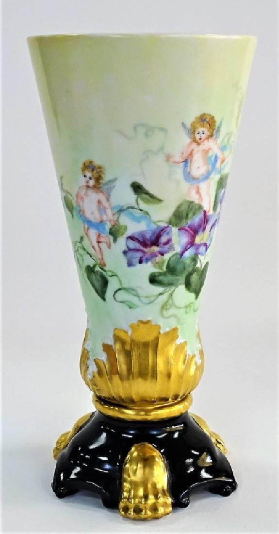 LATE 19TH C. LIMOGES H/P PORCELAIN FOOTED VASE