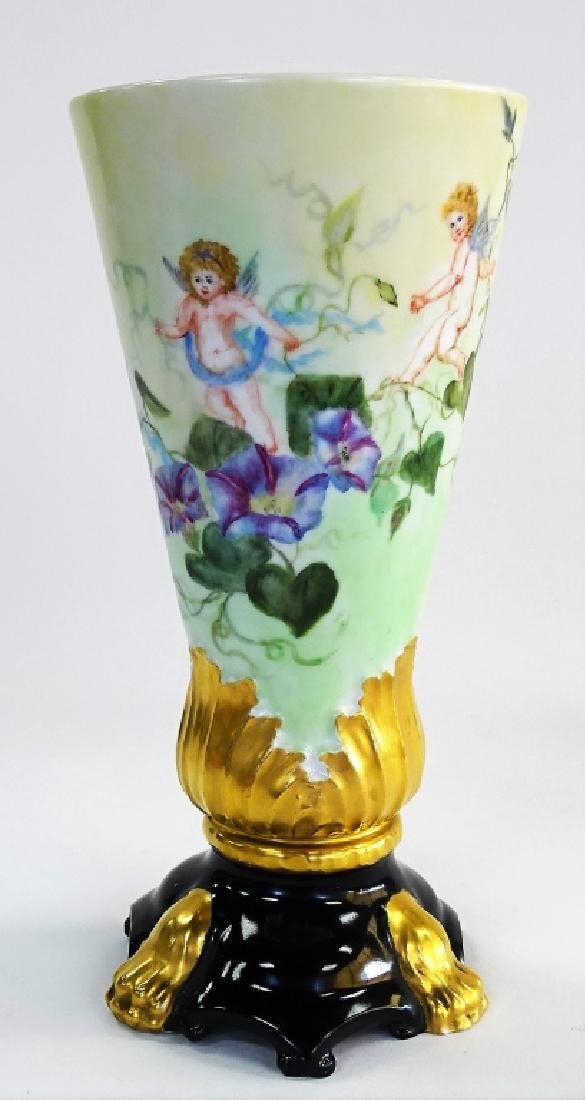 LATE 19TH C. LIMOGES H/P PORCELAIN FOOTED VASE - 2