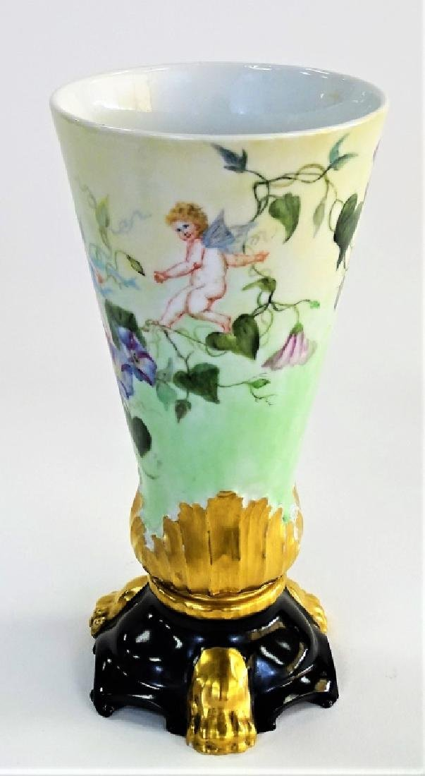 LATE 19TH C. LIMOGES H/P PORCELAIN FOOTED VASE - 3