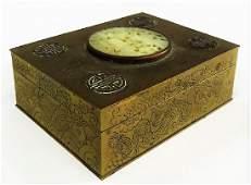 CHINESE HINGED BRASS HUMIDOR BOX W JADE INSERT