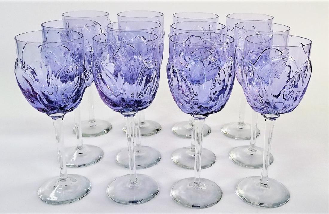 12 FINE ITALIAN BLOWN GLASS WINE GOBLET GLASSES