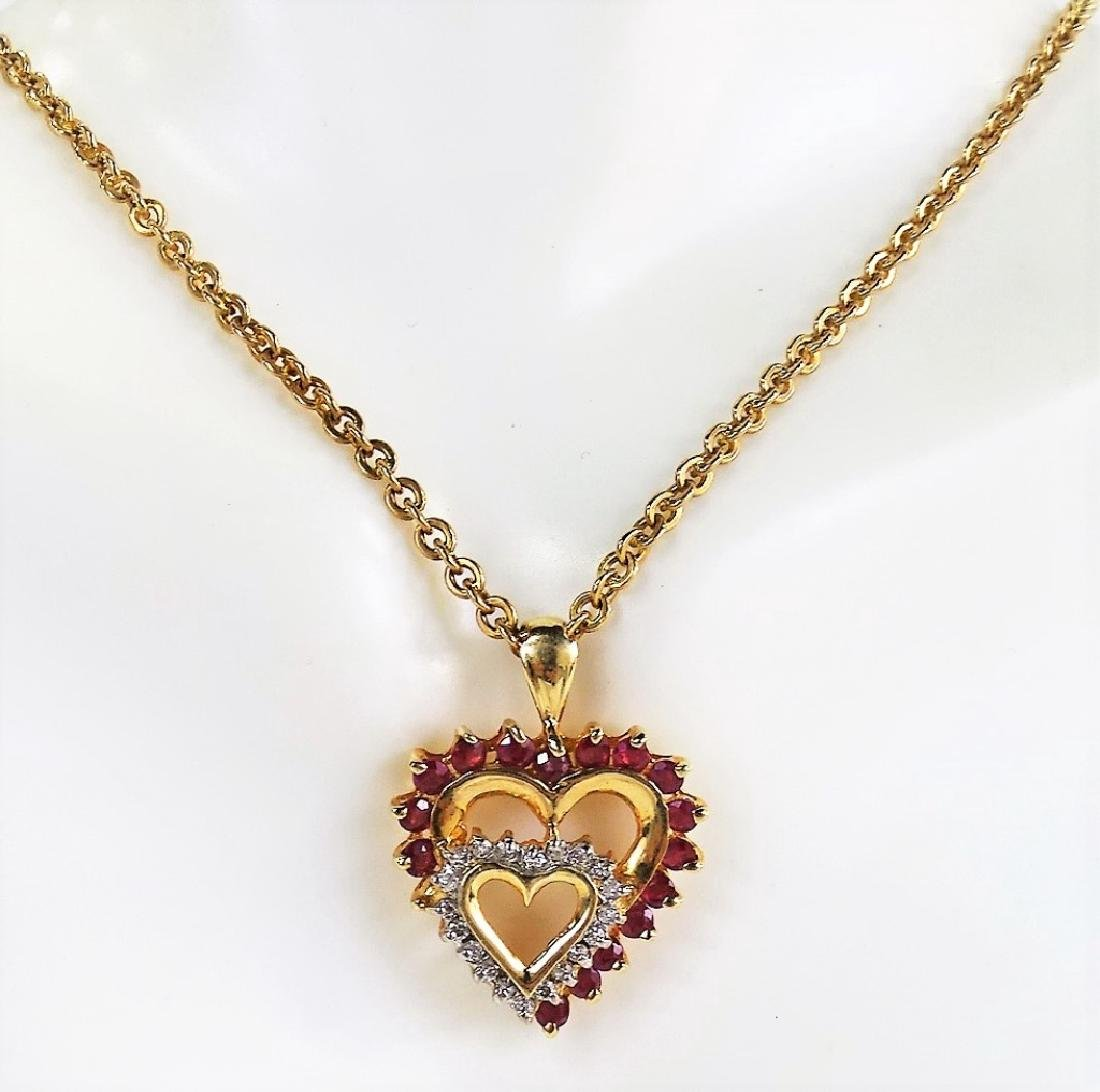 14KT YELLOW GOLD RUBY & DIAMOND HEART NECKLACE