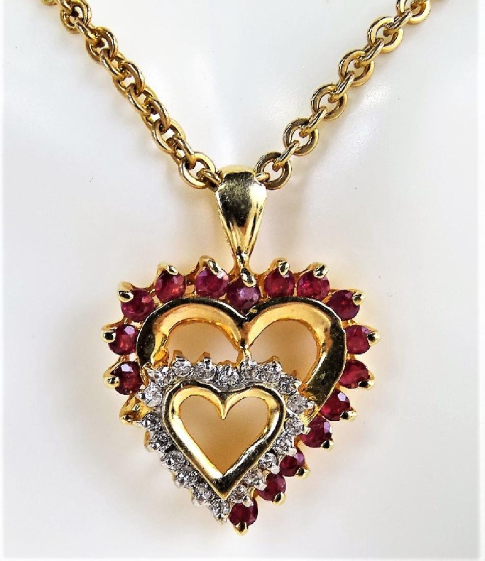 14KT YELLOW GOLD RUBY & DIAMOND HEART NECKLACE - 2