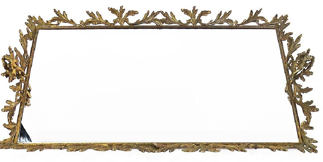 LARGE FRENCH SOFT METAL MIRRORED PLATEAU