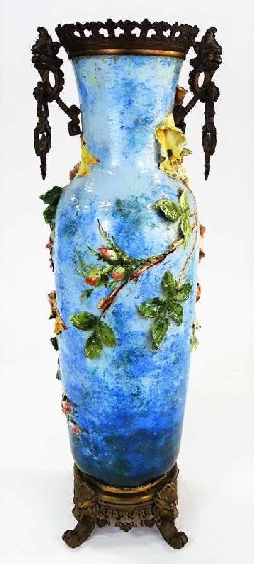 ANTIQUE FRENCH FAIENCE MAJOLICA & BRONZE VASE - 4