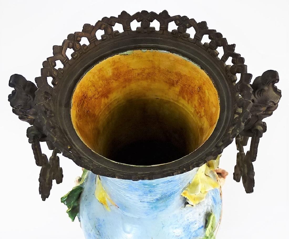 ANTIQUE FRENCH FAIENCE MAJOLICA & BRONZE VASE - 5