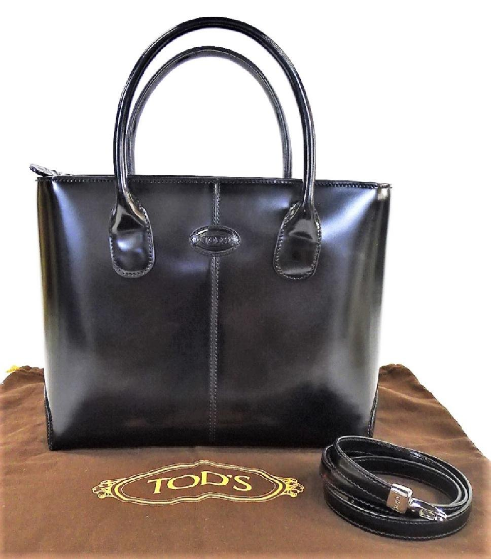 TODS BLACK LEATHER HANDBAG WITH DUST COVER