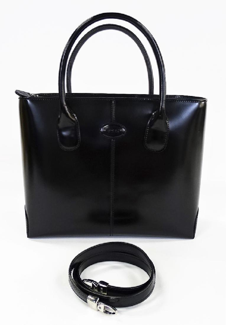 TODS BLACK LEATHER HANDBAG WITH DUST COVER - 2