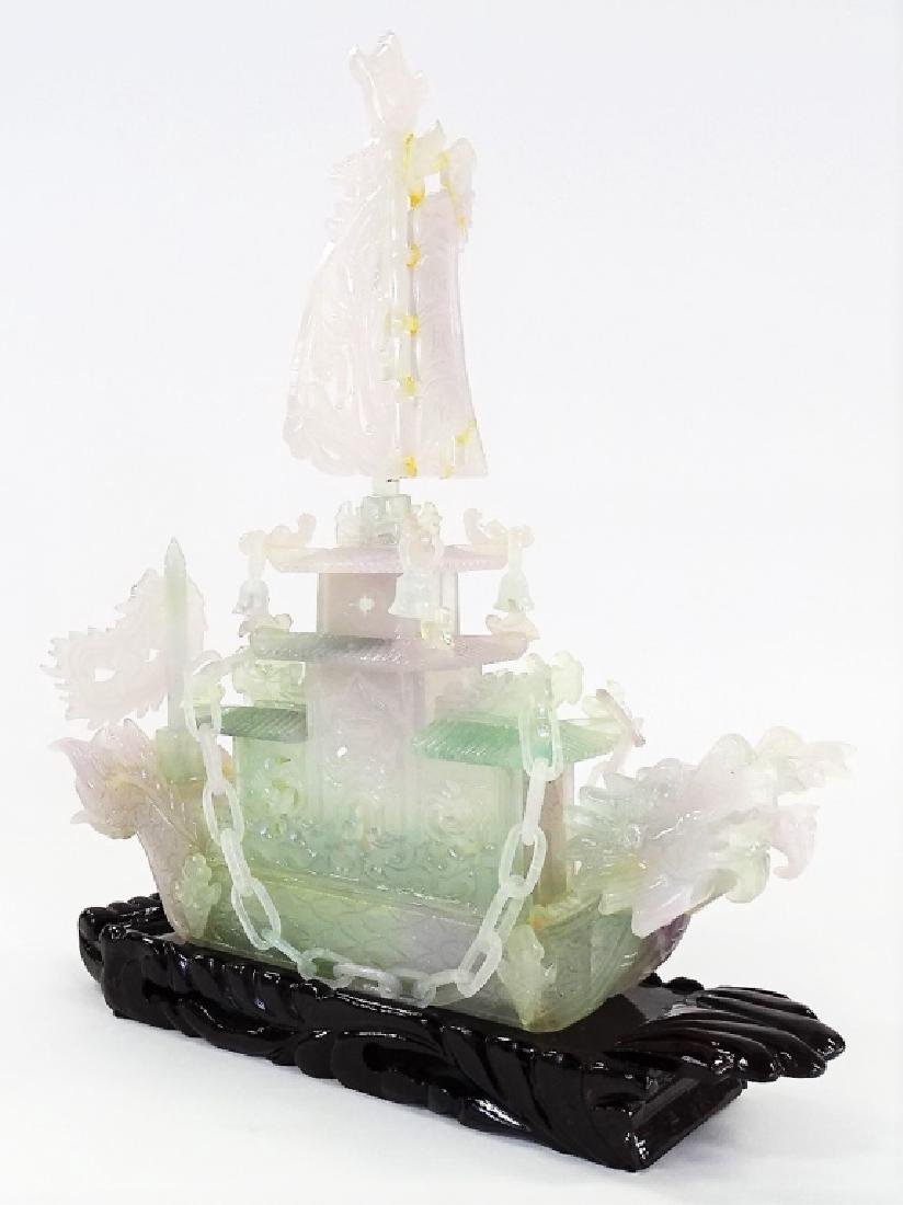 """16"""" CHINESE CARVED JADE DRAGON BOAT"""
