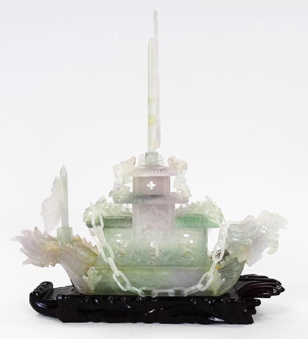 """16"""" CHINESE CARVED JADE DRAGON BOAT - 2"""