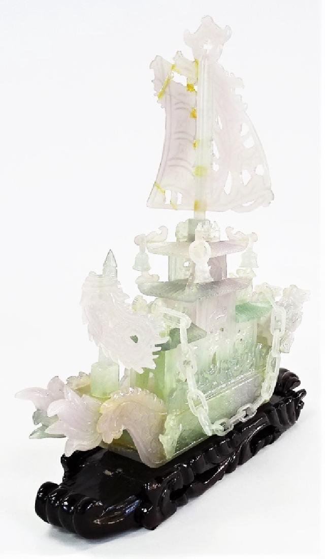"""16"""" CHINESE CARVED JADE DRAGON BOAT - 3"""