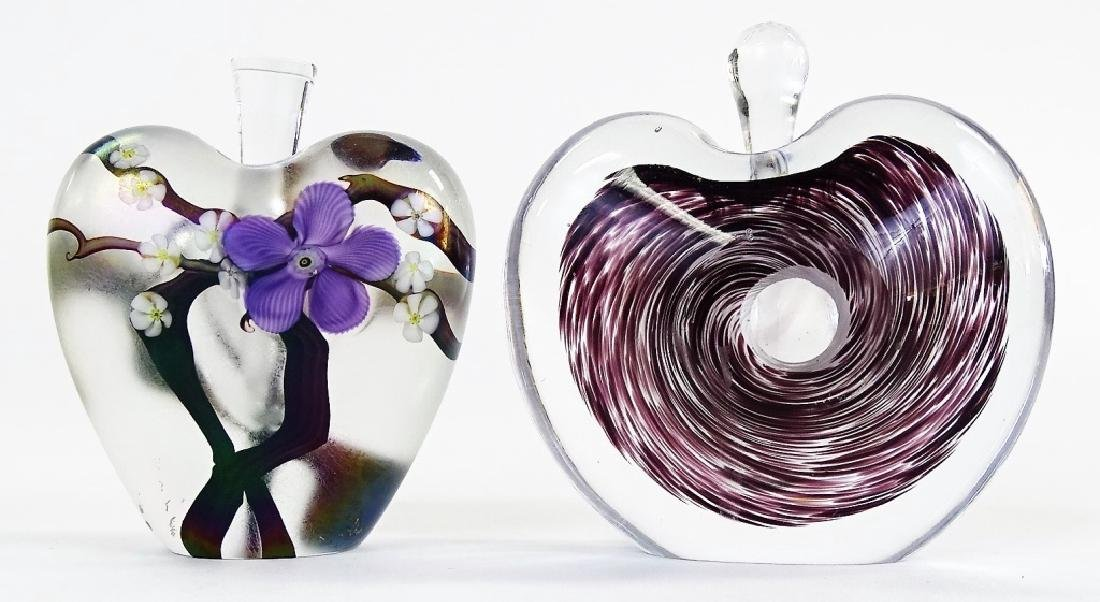 TWO CONTEMPORARY SWEDISH ART GLASS PERFUME BOTTLES