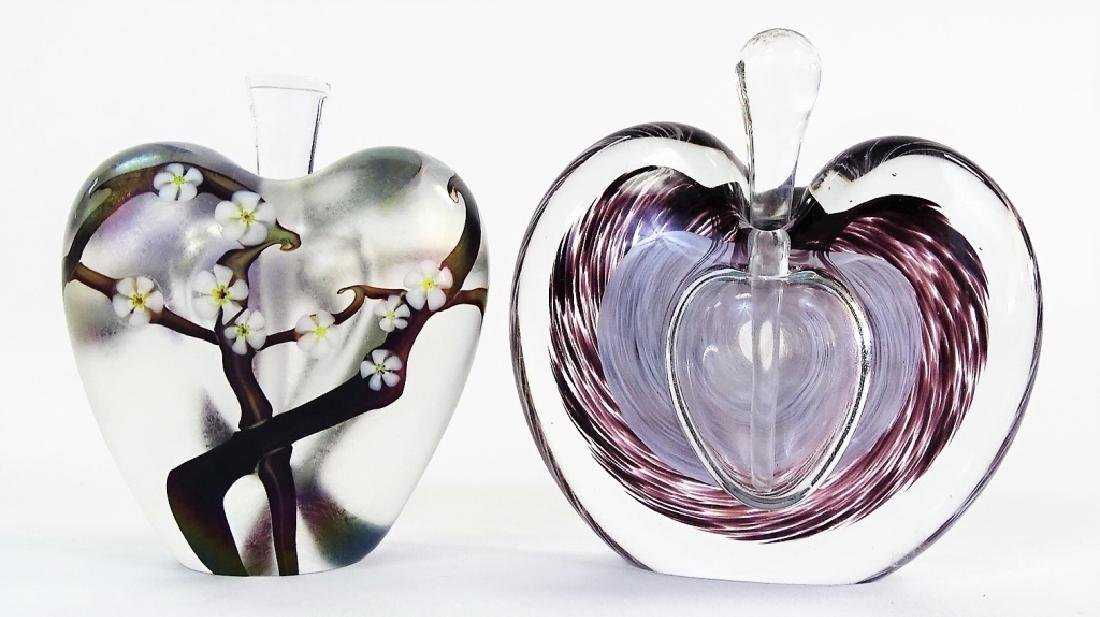 TWO CONTEMPORARY SWEDISH ART GLASS PERFUME BOTTLES - 2