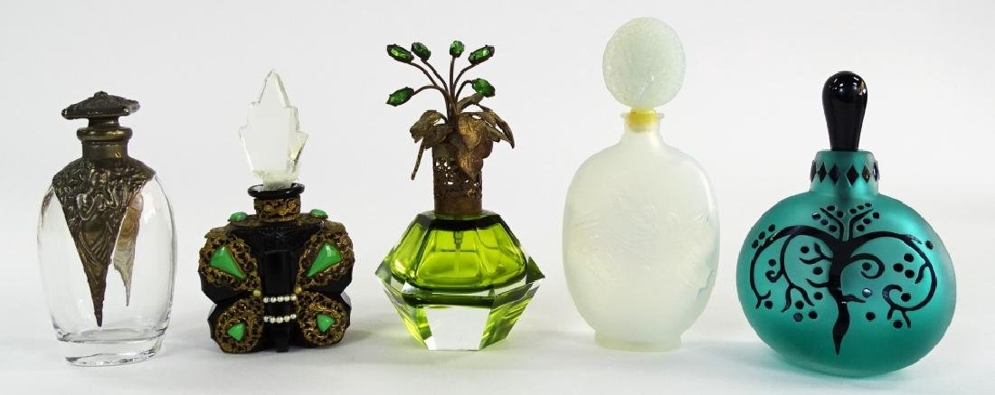 5 VTG GLASS & CRYSTAL PERFUME BOTTLES