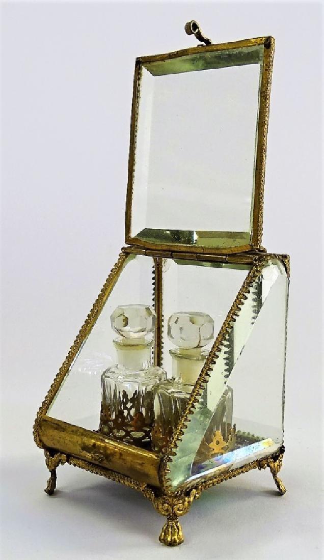 ANTIQUE FRENCH DOUBLE BOTTLE PERFUME CASKET - 3