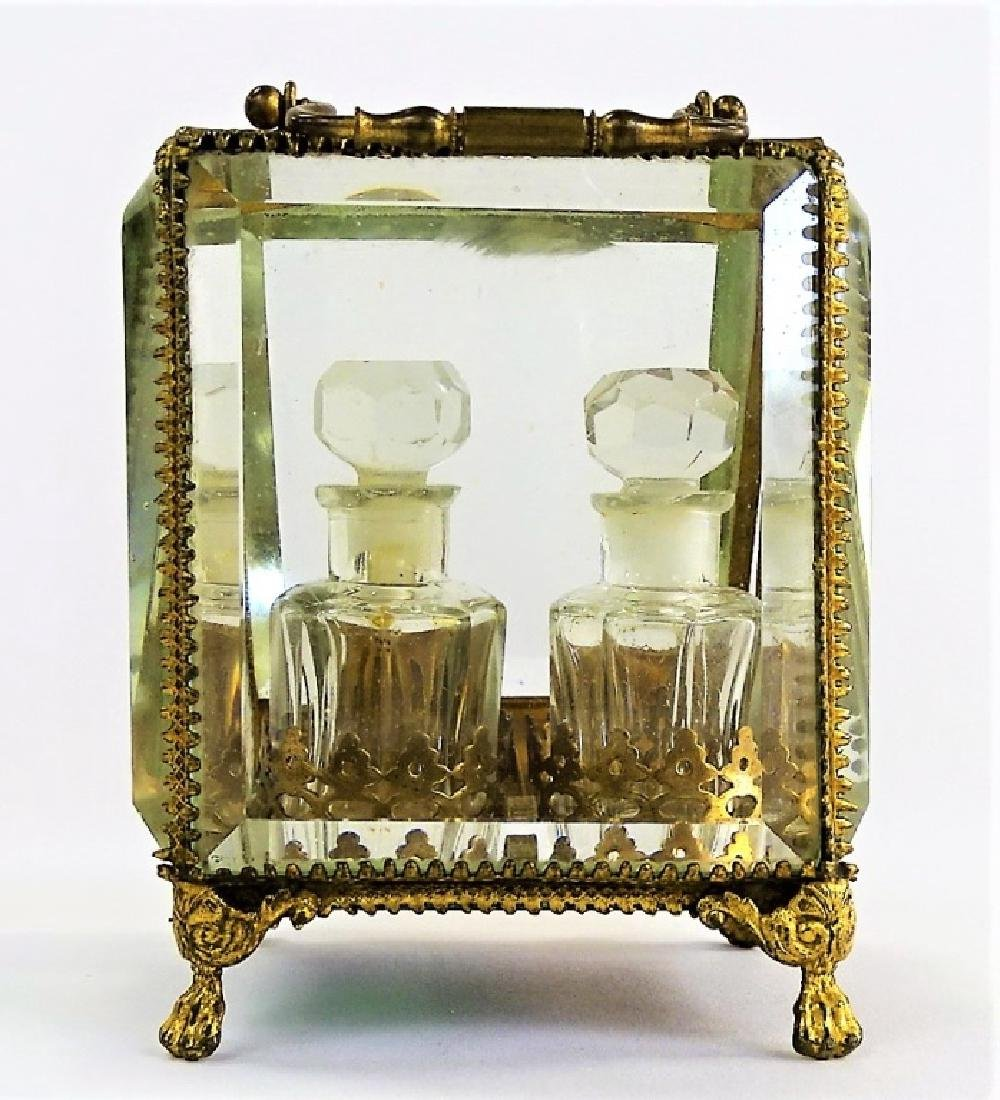 ANTIQUE FRENCH DOUBLE BOTTLE PERFUME CASKET - 6