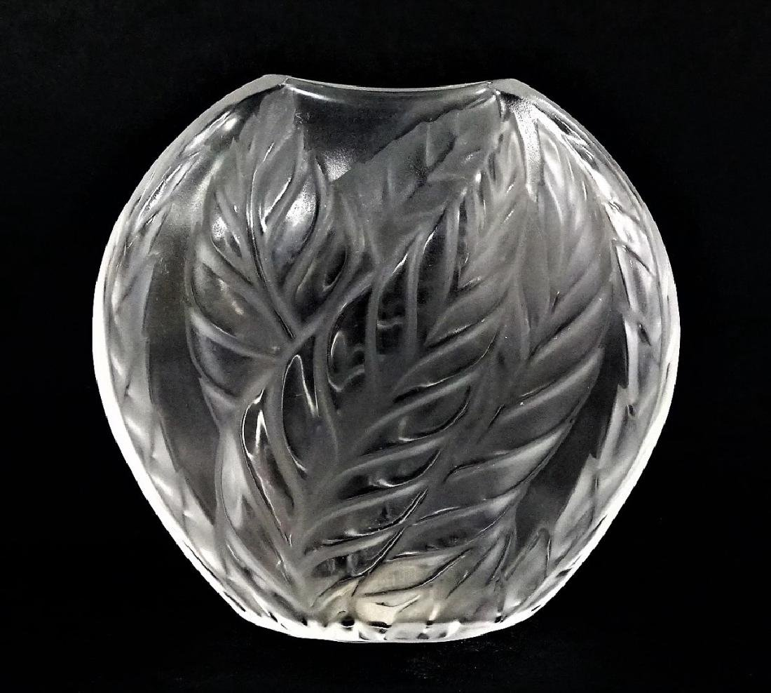LALIQUE MOLDED & FROSTED CRYSTAL FILICARIA VASE