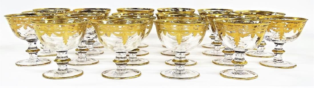 22 FRENCH GILT DECORATED CRYSTAL SHERBERT GLASSES