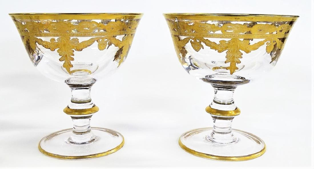 22 FRENCH GILT DECORATED CRYSTAL SHERBERT GLASSES - 3