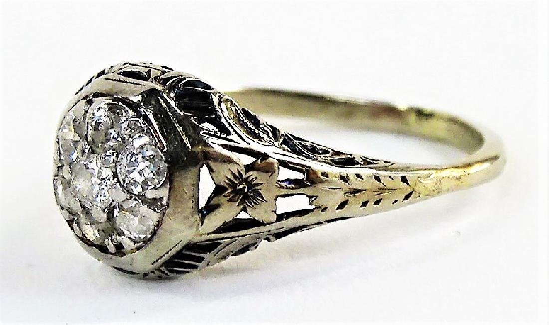 ESTATE DECO 18KT WHITE GOLD & .50CT DIAMOND RING