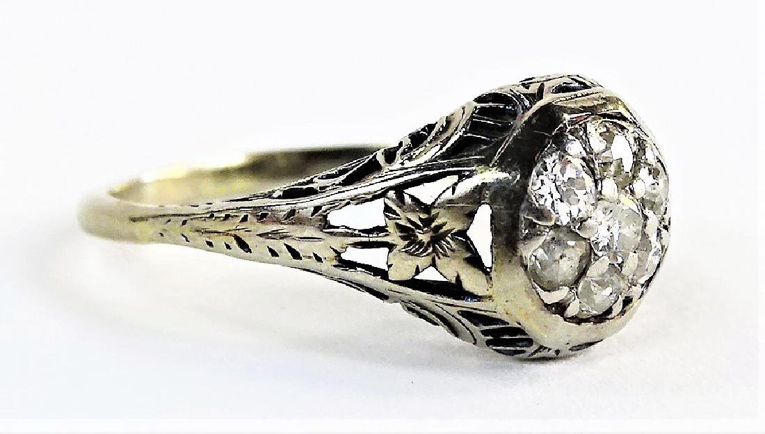 ESTATE DECO 18KT WHITE GOLD & .50CT DIAMOND RING - 3