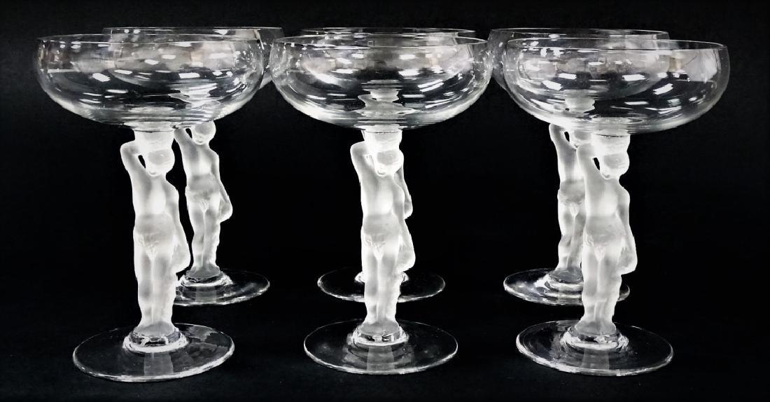 6 BAYEL BACCHANTE NUDE CRYSTAL CHAMPAGNE GLASSES