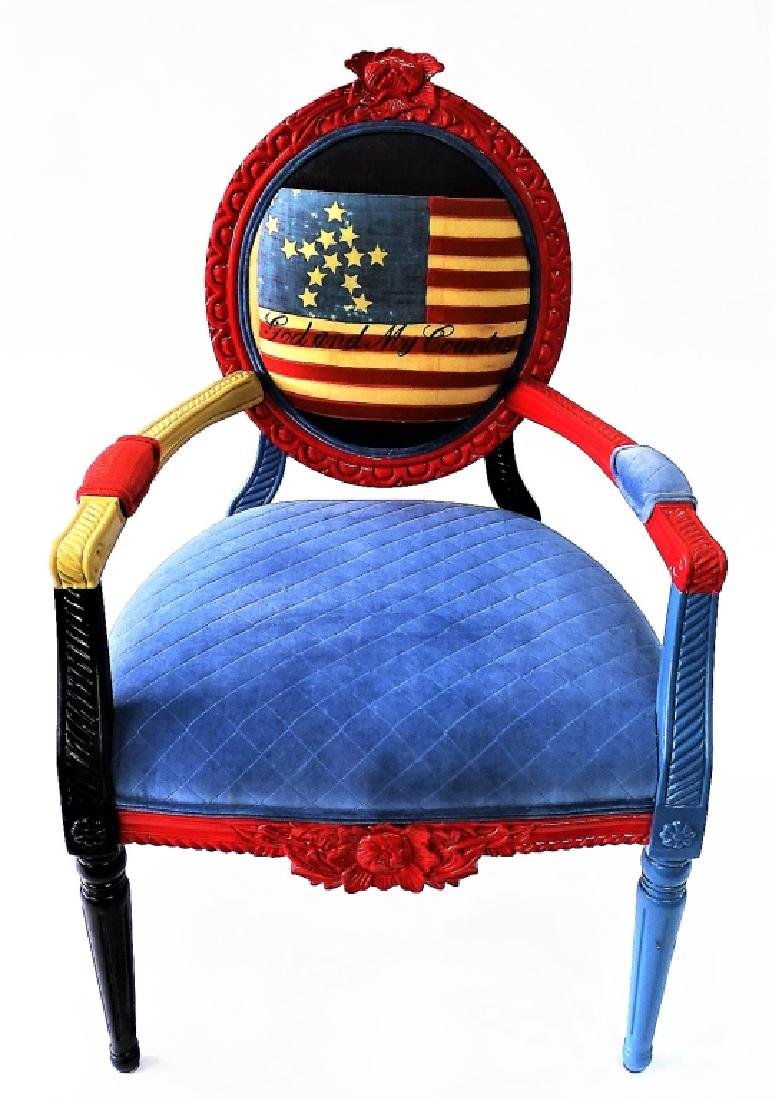 CARVED & PAINTED PATRIOTIC NEEDLEPOINT ARMCHAIR