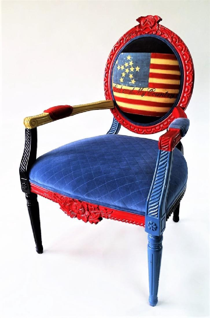 CARVED & PAINTED PATRIOTIC NEEDLEPOINT ARMCHAIR - 2