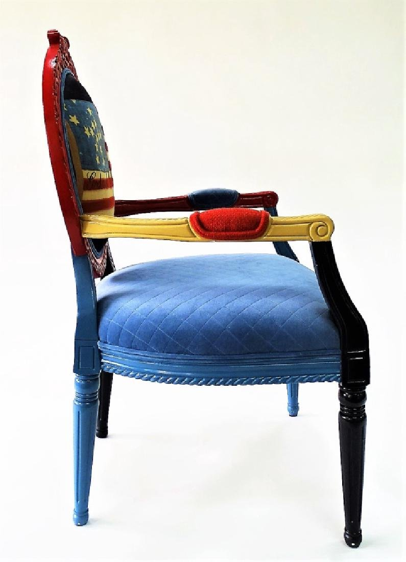 CARVED & PAINTED PATRIOTIC NEEDLEPOINT ARMCHAIR - 4
