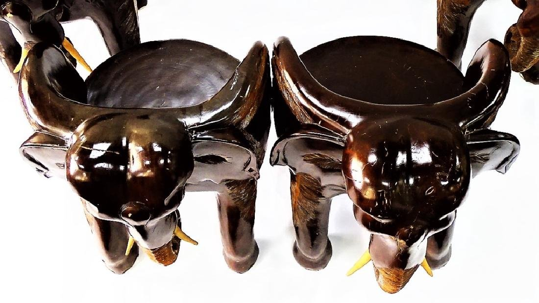 FOUR VINTAGE CARVED WOOD ELEPHANT FORM CHAIRS - 3
