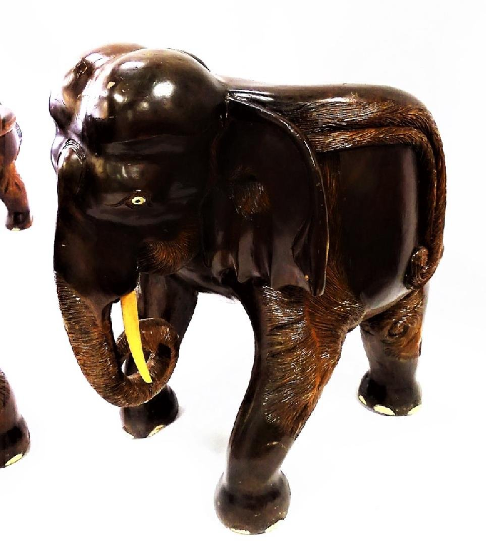 FOUR VINTAGE CARVED WOOD ELEPHANT FORM CHAIRS - 5