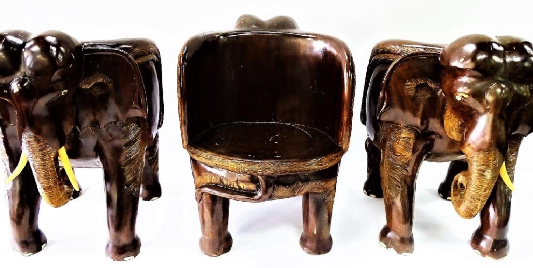 FOUR VINTAGE CARVED WOOD ELEPHANT FORM CHAIRS - 6